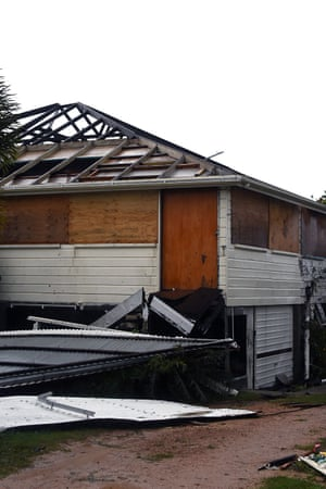 A severely damaged house in Bowen