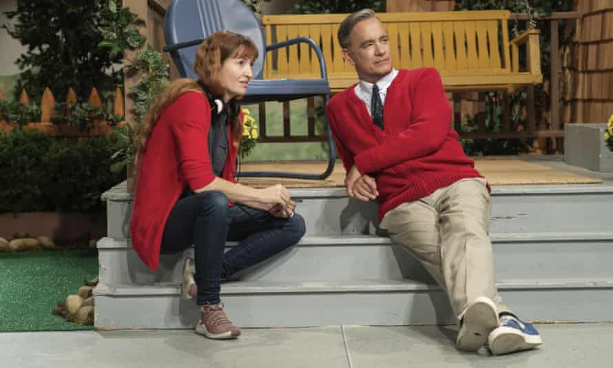 Heller with Tom Hanks on the set of A Beautiful Day in the Neighborhood.