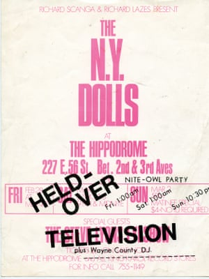 A flyer for gigs by the New York Dolls in New York City during February–March 1975 at The Little Hippodrome. This brief residency marked a pivotal moment – the end of the proto-punk era and the emergence of punk itself.