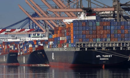 Container ships in Los Angeles. Other nations said they would welcome the US back into the TPP.