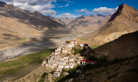 A hillside monastery in early morning light in Himachal Pradesh, northern India.