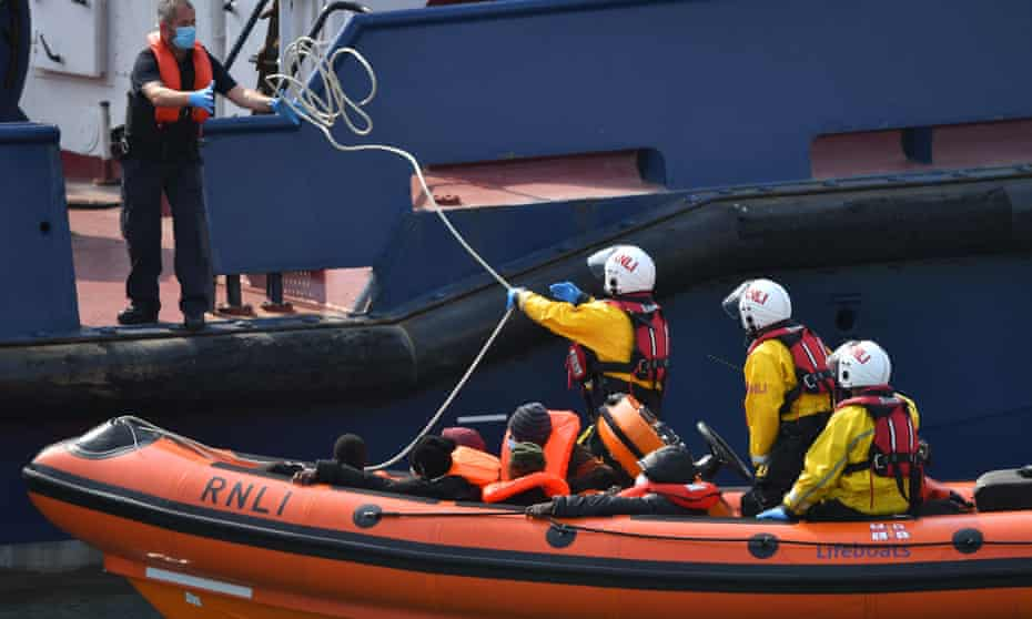 RNLI crew in lifeboat