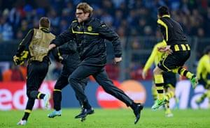 Jürgen Klopp celebrates after Borussia Dortmund reach the 2013 Champions League semi-final. Dortmund lost the final and Klopp has never watched it back.