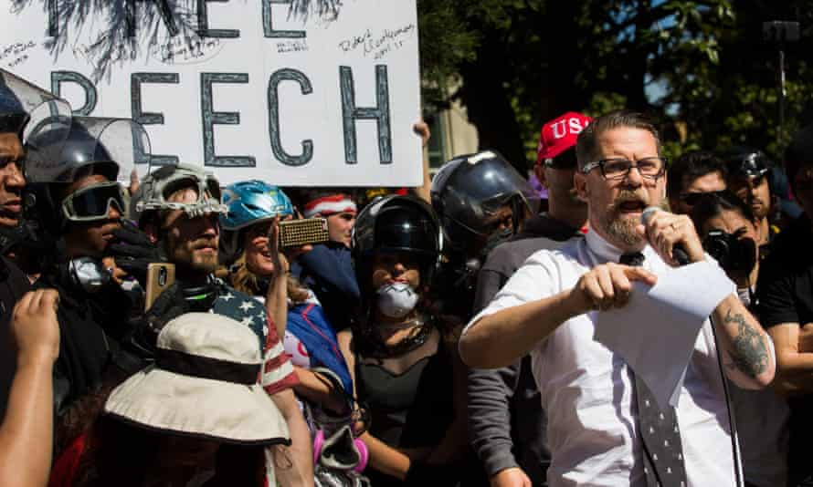 Speaking out … A pro-Trump rally in Berkeley, California.