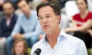 Mark Rutte, the centre-right Dutch PM, speaking in Barendrecht