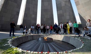 People visit the Tsitsernakaberd Armenian Genocide Memorial in Yerevan, Armenia.