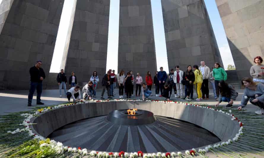 People visit the Tsitsernakaberd Armenian Genocide Memorial in Yerevan, Armenia.