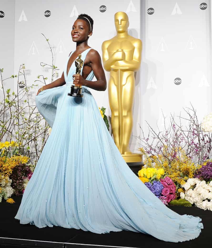 Lupita Nyong'o poses in the press room at the 86th annual Academy Awards