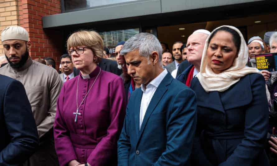 The London Mayor Sadiq Khan with faith and community leaders at a vigil at the east London mosque for the victims of the New Zealand attacks.