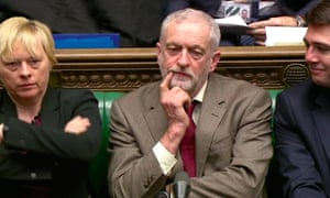 Corbyn with Angela Eagle and Andy Burnham in the House of Commons in February