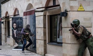 The SAS member enters a building attached to the dusitD2 hotel in Nairobi