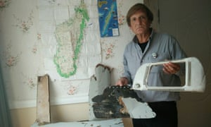 Independent investigator Blaine Gibson with debris that he believes could have come from MH370 but has not yet been collected by Malaysian authorities.