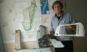 Independent investigator Blaine Gibson shows off debris found in Madagascar that he believes could have come from missing Malaysia Airlines flight MH370.