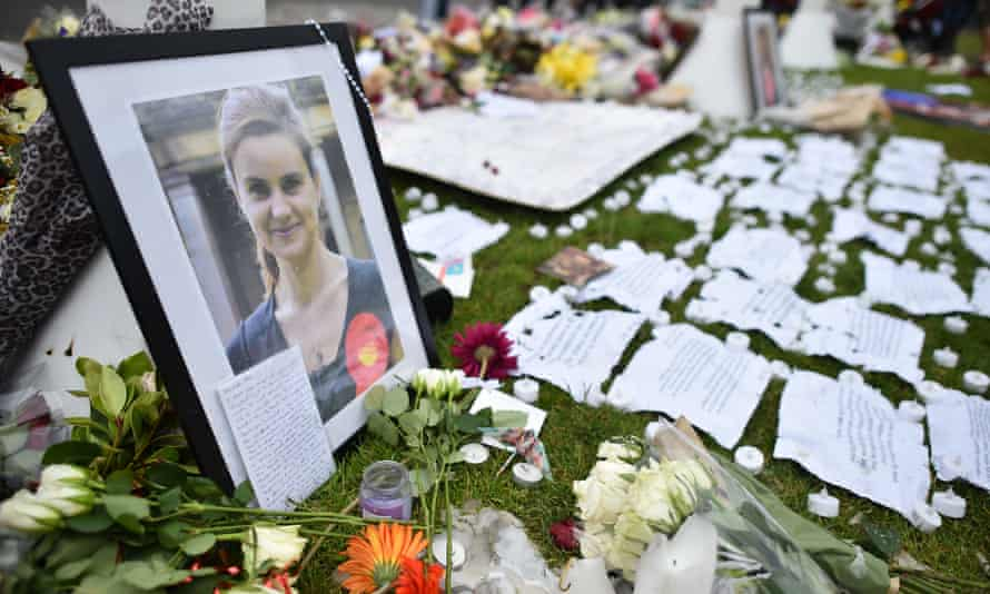 Tributes left to Jo Cox in Parliament Square, central London.