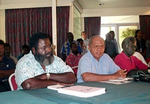 Former Bougainville Revolutionary Army (BRA) activist and current Bougainville People's Congress president Joseph Kabui, Island Governor John Momis and Kabui's war-time enemy, Joel Banam