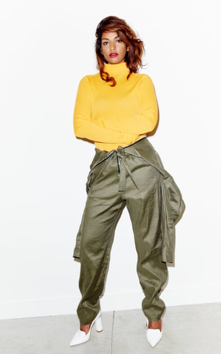 MIA wears boiler suit by Iro (selfridges.com); rollneck by Victoria Beckham (net-a-porter.com) and shoes by Nicholas Kirkwood.