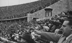 Crowds giving a Nazi salute at the Berlin Olympics in 1936. Boris Johnson said, under Putin, the World Cup in Russia this year would be similar.