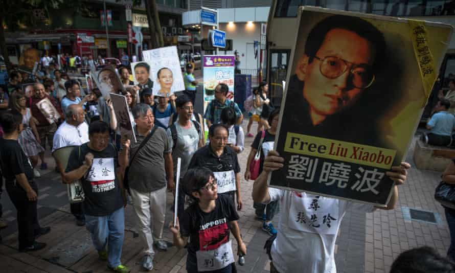 protest in support of Liu Xiaobo in Hong Kong
