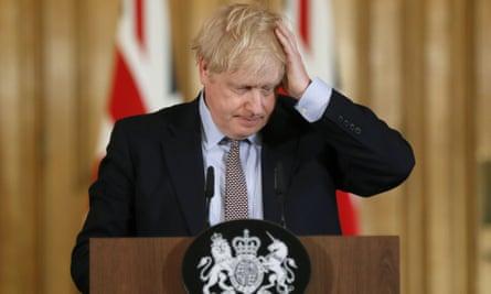 History repeats itself: Boris Johnson during a coronavirus press conference at Downing Street on 3 March.
