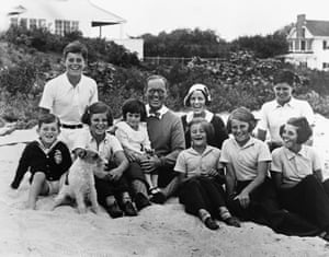 Joseph P. and Rose Kennedy pose for a picture on the beach at Hyannis Port, Massachusetts with their eight children in 1931