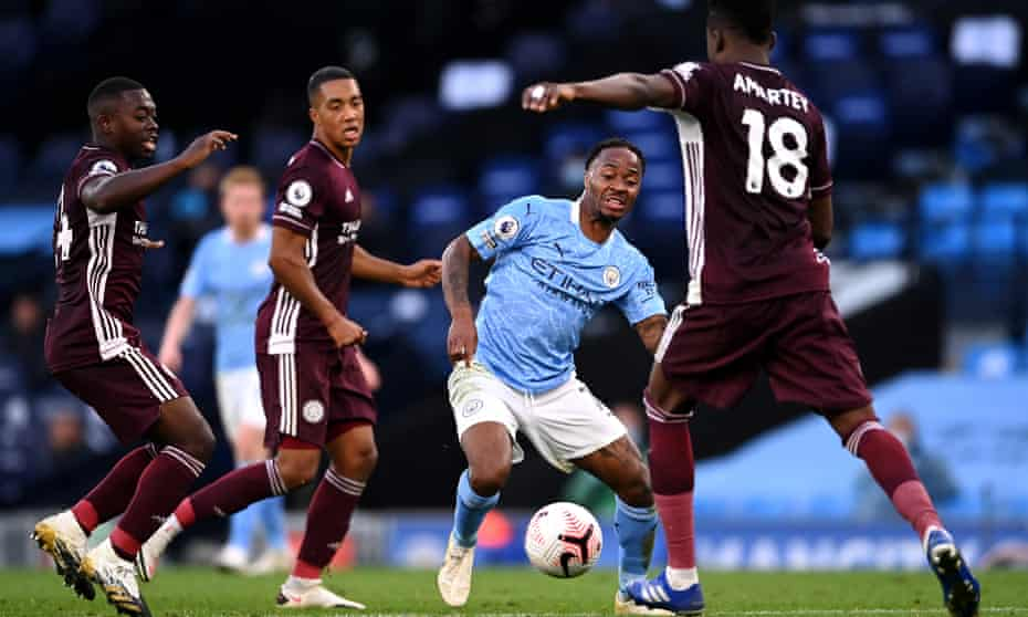 Raheem Sterling battles for possession with Nampalys Mendy, Youri Tielemans and Daniel Amartey during City's home defeat by Leicester in September.