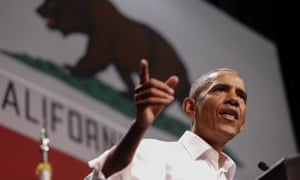 Barack Obama speaks in Anaheim, California.