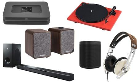 Clockwise from top left: Bluesound Node 2i, Pro-Ject Primary E deck, Sennheiser Momentum 2 headphones, Sonos One speaker, MusicCast BAR 400 soundbar, Ruark MR1 Mk2 speakers