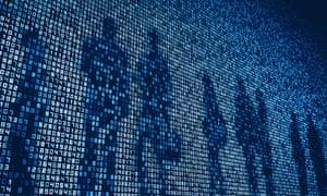 People's shadows on numbers on huge digital display