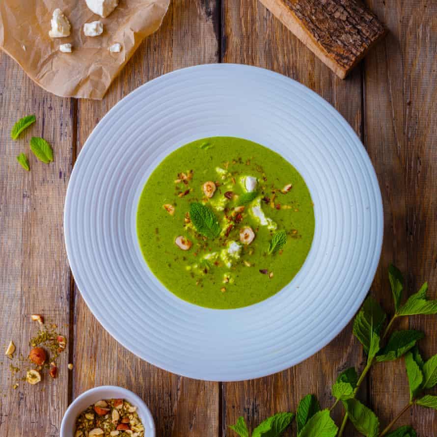 Chilled courgette soup, goat's curd, dukkah, mint.
