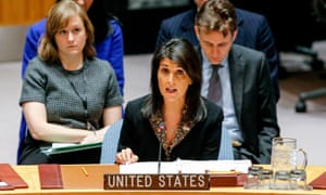 Nikki Haley speaks during a UN security council meeting on 18 December in New York