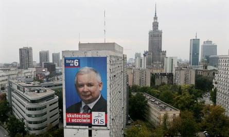 Jarosław Kaczyński on a Law and Justice party election poster in Warsaw in 2007