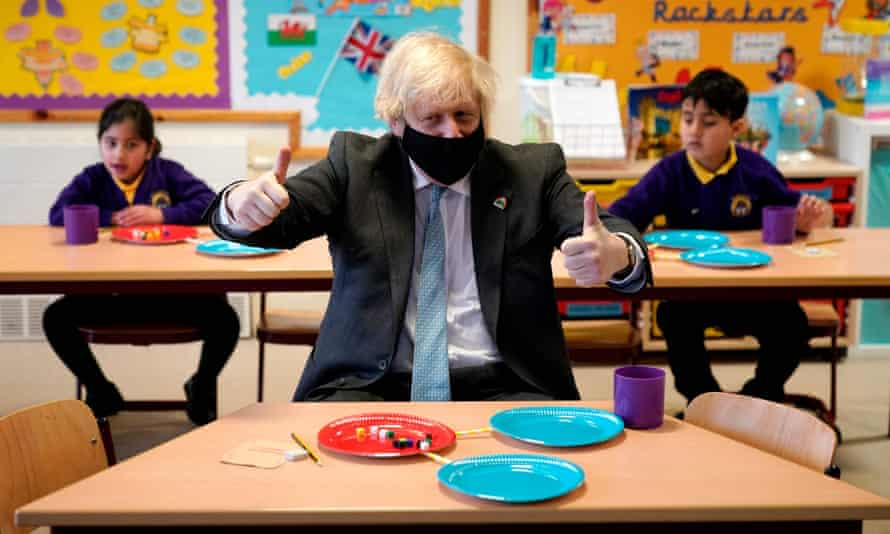 Boris Johnson on a visit to  a primary school in Stoke-on-Trent on Monday.
