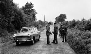 Irish troops on patrol at the border in August 1969.