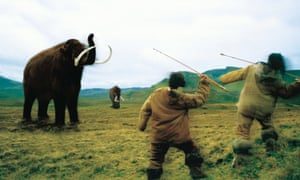 Humans attacking a woolly mammoth, from the BBC programme Mammoths to Manhattan.