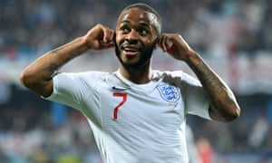 Raheem Sterling lets the Montenegro supporters know what he thinks of some of their chanting after making it 5-1 to England in the Euro 2020 qualifier.