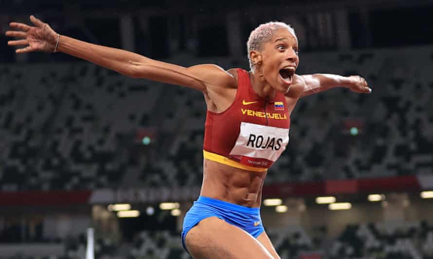 Yulimar Rojas of Venezuela celebrates after winning the gold medal in Tokyo's Olympic Stadium on Sunday.