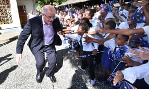 Scott Morrison meets children in Honiara