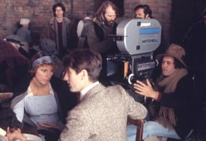 Robert De Niro and Italian actress Stefania Sandrelli with director and screenwriter Bernardo Bertolucci on the set of his movie Novecento (1900)