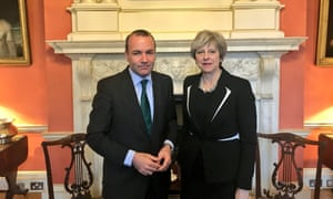 Manfred Weber met Theresa May in Downing Street for talks.