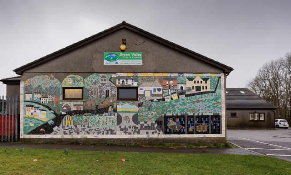 The mural on the community centre in Bettws.