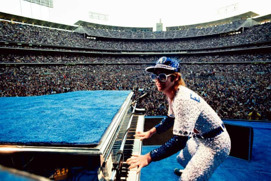 Elton John performing at Dodger Stadium in Los Angeles, October 1975.