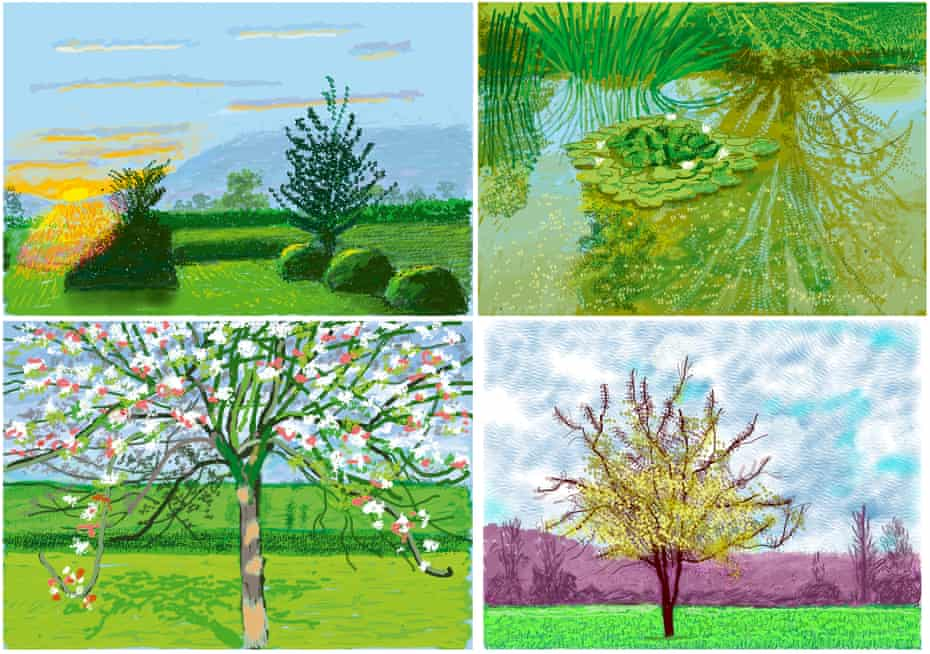 'An orderly Eden': David Hockney iPad drawings (clockwise from top left) No 227, 27 April 2020; No 340, 12 June 2020; No 88, 3 March 2020; and No 209, 20 April 2020.