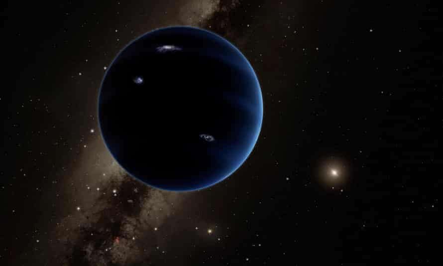 A planet in near silhouette against the stars of the Milky Way.