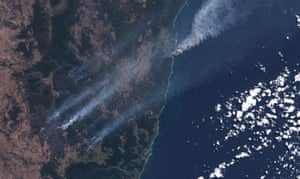 Satellite image of bushfires near Yamba and Mt Hyland, New South Wales, Australia on 8 September.