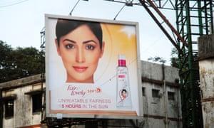 An advert for Fair & Lovely skin-whitening cream in Mumbai, India.