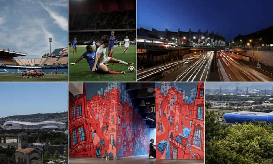Stade de la Mosson, Stade du Hainaut, Parc des Princes, Stade de L'Oceane, Stade de Lyon and Stade de Nice. Photographs by EPA, Getty Images and Offside Gallery. Composite: Jim Powell