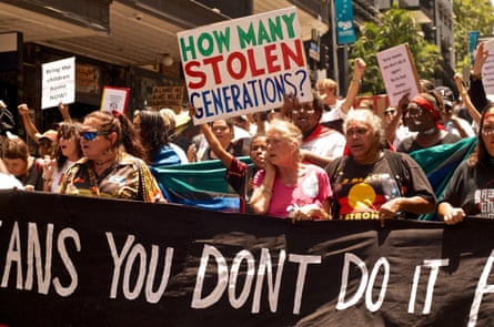 A stolen generations protest in Australia, featured in After the Apology by Larissa Behrendt.