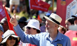 Jeremy Corbyn leads the parade at the Tolpuddle Martyrs festival in Dorset