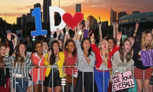 Shared elation … Directioners wait for their heroes.