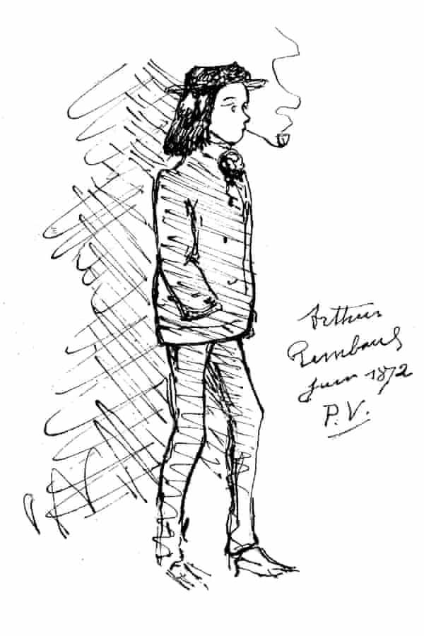Paul Verlaine's sketch of Arthur Rimbaud smoking a pipe in 1872.
